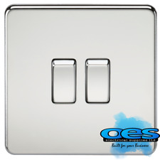Knightsbridge Screwless Flatplate 10 Amp 2 Gang 2 Way Switch Polished Chrome