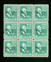 US Stamps # 825 VF PRR perf in block of 9 OG NH
