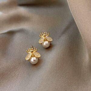 2021 Fashion Crystal Bee Pearl Ear Stud Earrings Charm Women Wedding Jewelry Hot