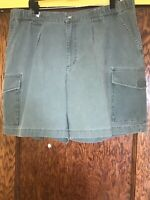 Mens Columbia Size 38 Green 100% Cotton Flat Front Cargo Shorts C44