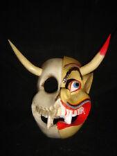 129 TWO FACES RARE DEVIL-SKULL MEXICAN WOODEN MASK Decorative Mexico Folk Art