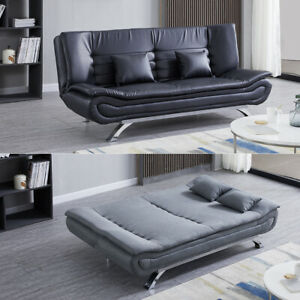 2-3 Seater Leather/Velvet/Linen Sofabed Couch Padded Armchair Settee Recliner UK
