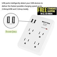 BESTTEN Wall Tap Adapter Outlet Socket Surge Protector with 2 USB Charger, White