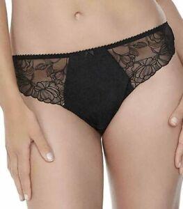 Fantasie Brazilian Brief Estelle Size L XL 14 16 18 Black Lace Knickers 9357