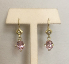 Judith Ripka18K Yellow Gold/Diamond/Pink Quartz Drop Earrings