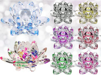 """4""""/100mm FengShui Crystal Lotus Glass Flower Paperweight Home Office Decoration"""