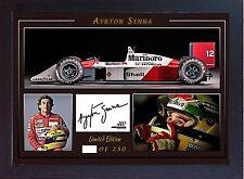AYRTON Senna SIGNED AUTOGRAFATO foto stampa F1 CAMPIONE DEL MONDO MCLAREN HONDA #007