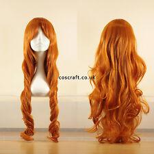 80cm long wavy curly cosplay wig in dark strawberry blonde UK seller, Jeri style