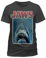Official Jaws Vintage Poster T Shirt Dark Charcoal Classic Retro Spielberg Movie