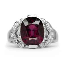 6.20ct Natural Purple Rhodolite Garnet Ring With Zircon in 925 Sterling Silver