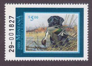 US #37 Montana State Duck Stamp MNH 1989 $5 Labrador Retriever & Pintail Duck