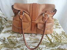 Tumi handbag satchel oversize leather double front pockets double rolled handle
