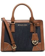 New Michael Kors Dillon denim Corner Frame luggage leather trim Satchel E/W bag