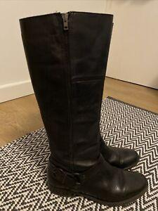 Aldo Knee High Black Leather Boots Uk 7
