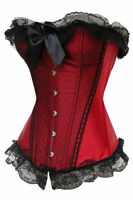 Sexy Lingerie Red Clubwear Strapless Satin Burlesque Lace up Boned Corset Top