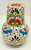 Talavera Mexican Pottery Water Jug With Cup Handmade Lead-free