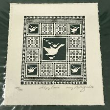 Vtg 1986 FLYING GEESE MARY RUTHERFORD Serigraph QUILT DESIGN Wall Art SIGNED