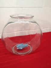 "Glass Fish Tank - Drum Shaped Bowl Plant Terrarium Container 8.5"" 1.1/4 gal."