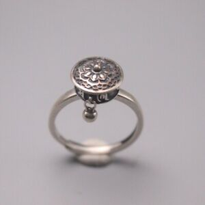 Solid 925 Sterling Silver Prayer Wheel-Shape Ring Band For Woman