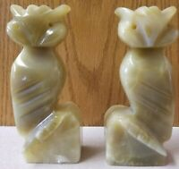 VINTAGE ALABASTER MARBLE HAND CARVED OWL BOOKENDS