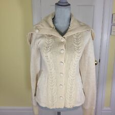 Anthropologie Saturday Sunday Sweater Jacket Sz S Cotton Wool Blend Cable Knit
