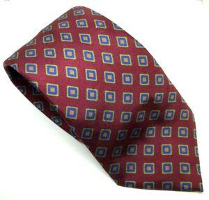 """Seaward & Stearn 7 Fold Men's Tie Red Squares 100% Silk 3.5"""" Width 61"""" Long"""