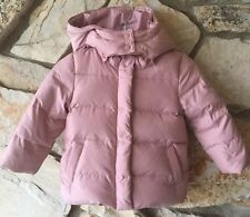 Baby GAP Girls Warmest Down Puffy Jacket Coat Size 3 Rose Pink Removable Hood