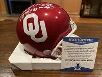 Billy Sims Autographed Riddell Oklahoma Sooners Mini Helmet Heisman 78 Beckett 1