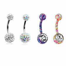 Fancy Belly Rings 14G Surgical Steel CZ Gems - 4 Pack