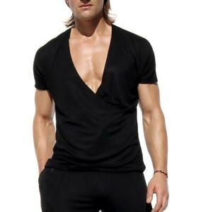 EMBER Rufskin men's Black kimono sleeve v-neck t-shirt Size L *New Arrival*