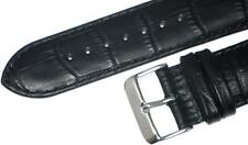 A-1 QUALITY,WATCH BAND BLACK GENUINE LEATHER,PADDED ALLIGATOR GRAIN 22MM