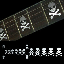 Skull with Crossbones (Metallic) Fret Markers Decal Sticker For Guitar & Bass