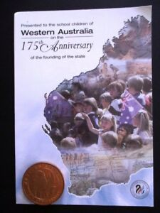 175th Anniversary Western Australia commemorative medallion mounted on info card