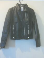 Abercrombie and Fitch Women's Black Biker Leather Jacket size S BNWT