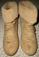 NEW WOMEN'S TAN BEIGE SHERPA CUFFED ANKLE SUEDE STYLE BOOTS SHOES SZ 13 M