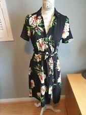 LADIES NEW LOOK CAMEO ROSE BLACK FLORAL TEA DRESS  SIZE 10 VG