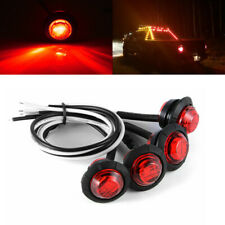 "4x 3/4"" Round Red 3 LED Clearance Side Marker Light Bullet Truck Trailer RV Van"