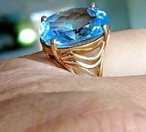 14 kt Gold Ring With HUGE Gorgeous 8 CARAT Blue Topaz Gemstone Ring