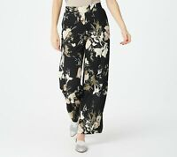 Isaac Mizrahi Live! Tall Printed Pebble Knit Wide Leg Pants (Black, LT) A374945