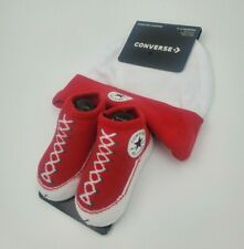 Converse Chuck Taylor Baby Hat & Booties Gift Set, 6-12 Months, Red, White L23MP