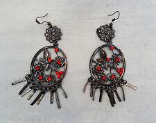 Dangle Earrings, For Pierced Ears Handmade Morocco Red Rhinestones & Silvertone