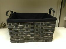 Woven Wicker Storage Organizer Toys Bathroom Kitchen Basket Black Liner 16x12x9