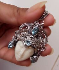 925 Solid Silver-IL204Balinese Goddess Face Pendant With Blue Topaz NEW 2017