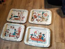 Set 4 Vintage TV Tray Featuring Huckleberry Hound, Yogi Bear, Quick Draw McGraw
