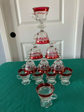 12 piece set of RUBY PUNCH CUPS~INDIANA GLASS CO.~footed/pedestal cups
