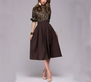 Women Floral Printed Vintage Party Autumn Female Casual Prom Midi Dress