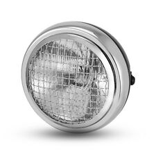 "6"" Black Mesh Grill Chrome Bezel Retro Headlight Cafe Racer Scrambler Motorbike"