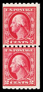 Scott 411 1912 2c Washington Perf 8½ Coil Mint Paste-Up Pair Fine NH Cat $55