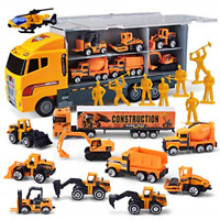 JOYIN 11 in 1 Die-cast Construction Truck Vehicle Toddler Car Toys Set Play in