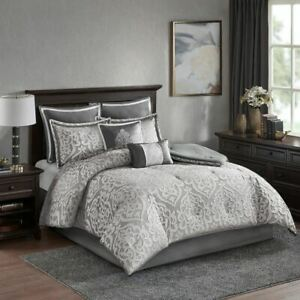 Luxury 8pc Silver & Grey Textured Jacquard Comforter Set AND Decorative Pillows